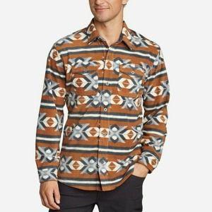 Eddie Bauer shirt FLEECE aztec Print XL buttondown